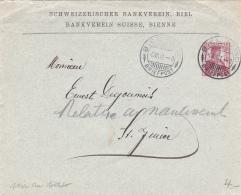 Entier Postal De La Schweizericher Bankverein, Biel, Obl.le 6.VII.1911 - Erreur Cachet Au Verso ST.JMIER - Entiers Postaux