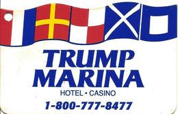Trump Marina Hotel Casino - Atlantic City, NJ USA - White Key Chain Dangle (blank Reverse) - Casino Cards