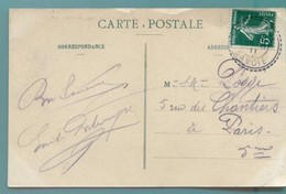 M7 TAD  PERLE  MAURIENNE 25.8.1911 SUR SEMEUSECAMEE VERT 5 C - Postmark Collection (Covers)
