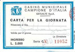 Casino Municipale Campione D'Italia 20-Dec 1976 Carta Per La Giornata - Casino Cards