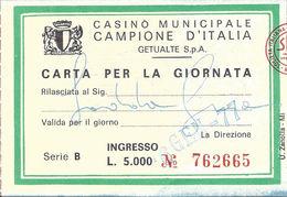 Casino Municipale Campione D'Italia 6-GEN-77 Carta Per La Giornata - Casino Cards