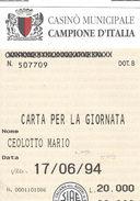 Casino Municipale Campione D'Italia 17/06/95 Carta Per La Giornata - Casino Cards