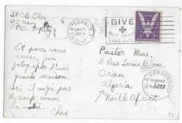 ALGERIE - 1944 - CP D'un MARIN De L'US NAVY (MECA RED CROSS NEW YORK) Avec CENSURE Des FORCES AMERICAINES En AFN => ORAN - Marcophilie (Lettres)