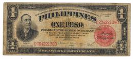 "Philippines, 1 Peso ""Treasure Certificate"" , 1936 F.  Free Ship. To USA. - Filipinas"