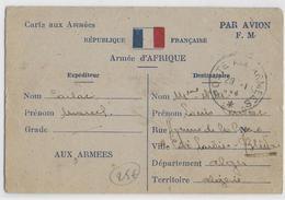 1944 - CARTE FM Par AVION De L'ARMEE D'AFRIQUE => BLIDA (ALGERIE) - Marcophilie (Lettres)