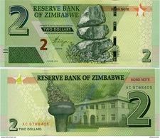 ZIMBABWE       2 Dollars       P-99       2016       UNC  [Bond Note] - Zimbabwe