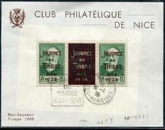 ALPES MARITIMES - BLOC SOUVENIR AVEC N° 343 BANDE DE 3 SURCHARGÉS JOURNÉE DU TIMBRE NICE 1938, TIRAGE 1000 - SUP & RR - Souvenir Blocks & Sheetlets