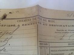 Chemins De Fer Du Midi, Récépissé Remis Destinataire 1885, Origine Narbonne - Titres De Transport