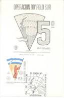 OPERACION 90 GRADOS POLO SUR AÑO 1971 QUINTO ANIVERSARIO TARJETA FDC TBE REPUBLICA ARGENTINA - Postzegels