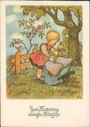 AK Muttertag, Mädchen Mit Puppe, Sign., Ca. 1940/50er Jahre (8234) - Fête Des Mères