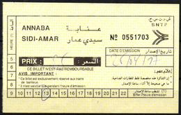 ALGERIA Ticket Billet  Railway Ste Nle Des Transports Ferroviaires SNTF Train Tren Eisenbahn Zug Tickets - Monde