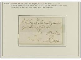 ESPAÑA: PREFILATELIA. 1775-1843. RIPOLL. Colección de 5 cartas (nº 3, 4, 5(2) y 8).