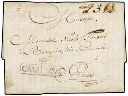 ESPAÑA: PREFILATELIA. 1758 (29 junio). BARCELONA a GÉNOVA (Italia). Marca */CATALUÑA...