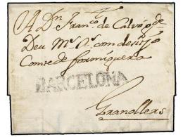 ESPAÑA: PREFILATELIA. 1738 (6-Julio). BARCELONA a GRANOLLERS. Marca BARCELONA (nº 14).