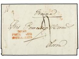 ESPAÑA: PREFILATELIA. 1836 (6 Febrero). MADRID a FRANCIA. Marca ZARAGA./PORTE PAGADO/HASTA LA RAYA...