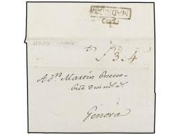 ESPAÑA: PREFILATELIA. 1790 (17-8). MADRID a GENOVA. Marca al dorso MADRID I. No habitual en cartas...
