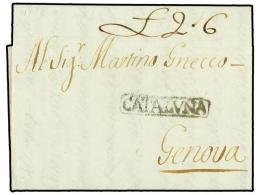 ESPAÑA: PREFILATELIA. 1777 (14-Abril). MADRID a GENOVA. Marca CATALUÑA de BARCELONA estampada...