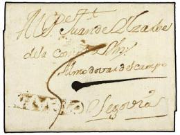 ESPAÑA: PREFILATELIA. 1754 (26-Junio). BUENGRADO a SEGOVIA. Marca en negativo AMDVO (nº2) de...