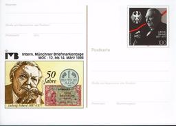 Deutschland 1998 - Postkarte - Deutsche Mark (Markenbild: Ludwig Erhard) - Münzen