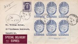 CANADA  :   281 Organisation Aviation Civile En Bloc De 6 Sur Lettre Par Express Pour Toronto De 1955