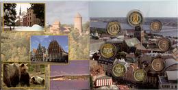 Letland Euro Jaarset 2014, 8 Munten Van 1 Cent Tot 2 Euro In Mapje - Lettonie