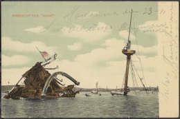 POS-670 CUBA POSTCARD. 1907. HABANA. WRECK OF MAINE SHIP IN HAVANA HARBOR. - Cuba