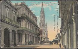 POS-699 CUBA POSTCARD. 1924. HABANA. REINA STREET IGLESIA CHURCH TO HUNGARY. POSTAGE DUE. - Cuba