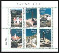 ESPAGNE SPANIEN SPAGNA SPAIN ESPAÑA 2011 LIGHTHOUSES FAROS M/S MNH ED HB4646 SC SH3787 YV BF4302-07 MI B206-4597-602 - 2011-... Unused Stamps