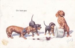 Dackel Teckel Dachshund  Chien  Po  Enfant K.Feiertag  Cpa. Old Dog Postcard. BKWI. 706-6    1922 - Chiens