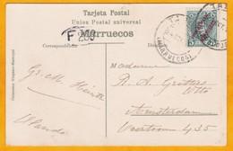 1903 - CP De Tanger, Maroc Espagnol Vers Amsterdam, Pays Bas - Afft YT N° 3 Alphonse 13 5 C Surchargé - Spanish Morocco
