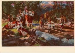 Painting By J. Bokshay - Raftsmen , 1947 - People In Folk Costumes - Ukrainian Art - Ukraine USSR - 1964 - Unused - Pintura & Cuadros
