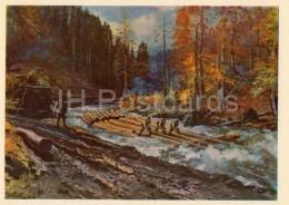 Painting By J. Bokshay - A Log Float , 1953 - Ukrainian Art - Ukraine USSR - 1964 - Unused - Pintura & Cuadros