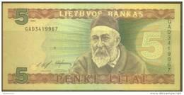 Lithuania 5 Litai Note, P55a, UNC - Lituanie