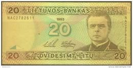 Lithuania 20 Litu Note, P57a, UNC - Lituanie