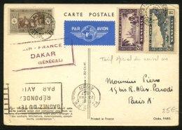 : Carte  Postale AIR FRANCE Avec Afrt Tricolore Oblt DAKAR PRINCIPAL SENEGAL P PARIS + Cachet Violet  AIR-FRANCE DAKAR - Marcophilie (Lettres)