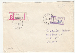Polska Registered Letter Cover Travelled 1990? Lodz To Wien TAXE PERCUE B170501 - 1944-.... República