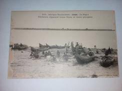 Soudan - Le Niger - Pêcheurs Réparant Leurs Filets Et Leurs Pirogues - Fortier - Sudan