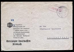 A4668) Bizone Bank-Brief Mit Barfrankatur Kronach 28.9.45 - Bizone