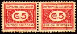 10535 Italia Selos De Sobrepreço De Guerra 5 Cts Par N - Fiscales