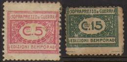 10535 Italia Selos De Sobrepreço De Guerra 5 Cts + 15 Cts - Steuermarken