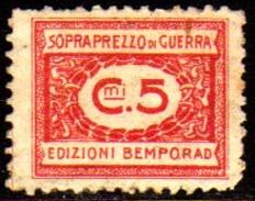 10535 Italia Selos De Sobrepreço De Guerra 5 Cts N - Steuermarken