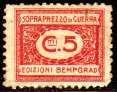 10535 Italia Selos De Sobrepreço De Guerra 5 Cts N - Revenue Stamps