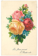 Cpa Fantaisie , Fleurs En Ajouti    ( Gaufrée ) - Autres
