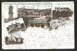 Lithographie Coburg, Ehrenburg, Prinz Albert Denkmal, Rosenau, Veste - Coburg