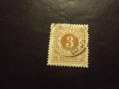 SVEZIA 1872 CIFRA 3 O USATO Dent 14 - Suède