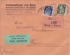 Siegelbrief, Kantonalbank Bern, Wert 5000.-, Bestellgebühr Bezahlt, Bern1 122 Wert. Mi:103x+107x. Fraubrunnen 11.XII.19 - Lettres & Documents