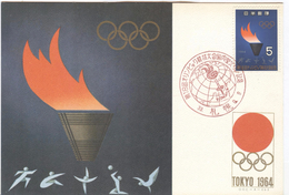 JAPAN Olympic Postcard With Olympic Stamp With Cancel For The Torchrelay Sapporo 9-9-1964 - Summer 1964: Tokyo