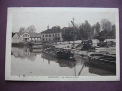 CPA 71 LOUHANS La Seille Et Le Port SEPIA ANIMEE 1936 PENICHES , BATEAU LAVOIR , GRUE , CAMION , METIERS BATELLERIE - Louhans
