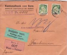 Siegelbrief, Kantonalbank Bern, Wert 4000.-, Bestellgebühr Bezahlt, Bern1 607 Wert. Mi:2 X 107x. Nach Fraubrunnen - Suisse