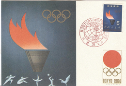 JAPAN Olympic Postcard With Olympic Stamp With Cancel For The Torchrelay Kanazawa 30-9-1964 - Summer 1964: Tokyo